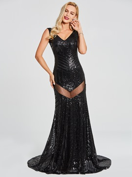 Ericdress sexy v neck sequins backless sirène robe de soirée