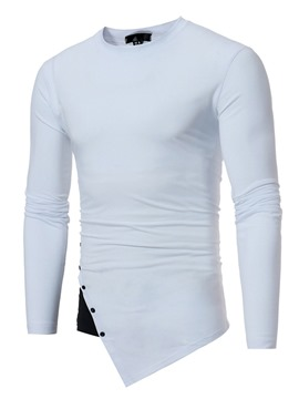 Ericdress Plain Irregular Long Sleeve Casual Slim Men's T-Shirt