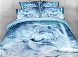 Vivilinen Wolf in the Wild Printed Cotton 4-Piece 3D Bedding Sets/Duvet Covers