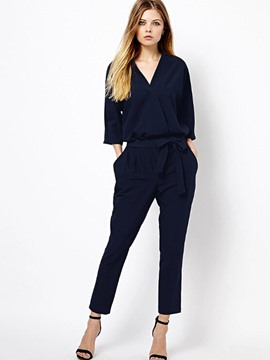Ericdress Loose Mid-Waist Plain Lace-Up Womens Jumpsuit