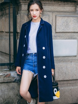 Ericdress Mid-Length Plain Double-Breasted Denim Trench Coat