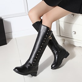 Ericdress Rivet Slip-On Plain Knee High Matin Boots