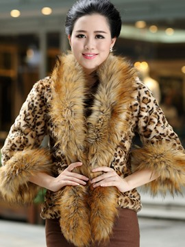 Ericdress Plus-Size Leopard Three-Quarter Coat