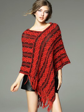 Ericdress V-Neck Tassel Batwing Sleeve Cape