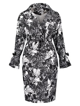Ericdress Notched Lapel Print Plant Overcoat
