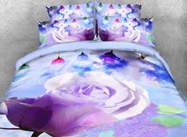 Vivilinen Blooming Rose Printed Cotton 4-Piece 3D Bedding Sets/Duvet Covers