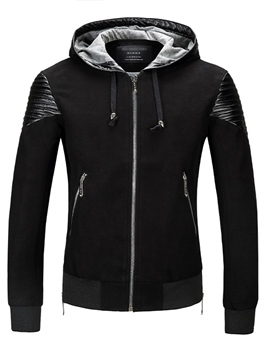 Ericdress Hooded Zipper Patchwork Slim Men's Hoodie