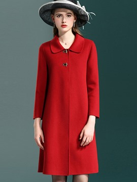 Ericdress A Line Peter Pan Collar Hidden Button Coat