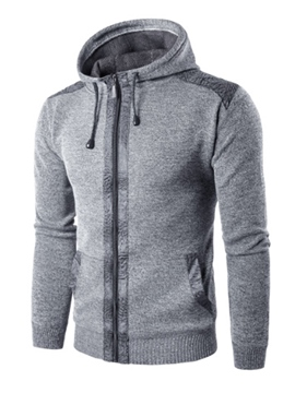 Ericdress Hooded Zipper Solid Color Men's Hoodie