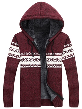 Ericdress Hooded Color Block Men's Cardigan Sweater