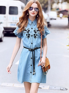 Ericdress Embroidery Petal Sleeve Lace-Up Shirt Dress
