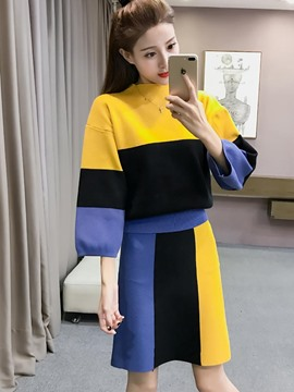 Ericdress Cotton Color Block Leisure Suits