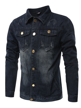 Ericdress Lapel Pocket Slim Men's Denim Jacket