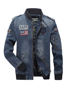 Ericdress Stand Collar Patchwork Zipper Men's Denim Jacket