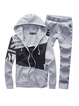 Ericdress Hooded Zipper Patchwork Color Block Men's Sports Suit