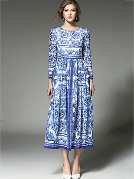 Ericdress Nine Points Sleeves Print Expansion Maxi Dress