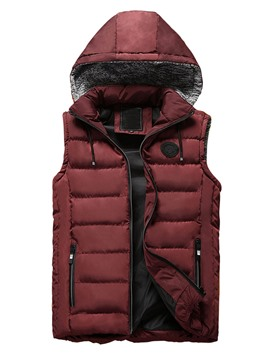 Ericdress Hooded Zipper Pocket Patchwork Men's Vest