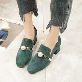 Ericdress All Match Slip-On Chunky Heel Pumps with Beads