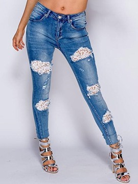 Ericdress Lace Hollow Washable Jeans