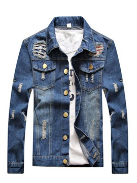 Ericdress Lapel Slim Long Sleeve Men's Denim Jacket