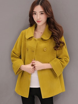 Ericdress Peter Pan Collar Plain Plus-Size Coat