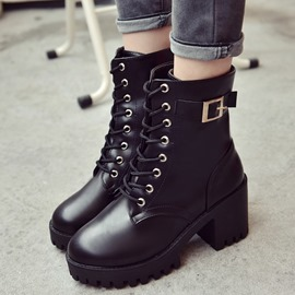 Ericdress Fashionable Lace-Up Platform Ankle Boots with Buckle
