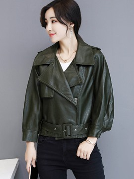 Ericdress Short Plain Loose Zipper PU Jacket
