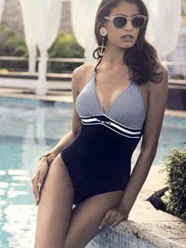 Ericdress V-Neck Pinstripe Lace-Up Monokini