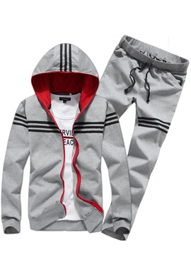 Ericdress Hooded Zipper Stripe Men's Sports Suit