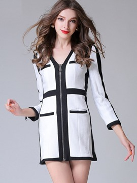 Ericdress V-Neck Stripe Color Block Zipper Jacket
