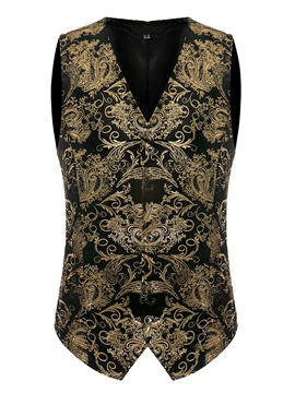 Ericdress Print V-Neck Single-Breasted Mens Waistcoat
