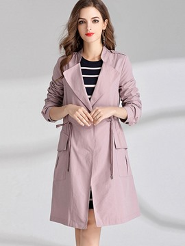 Ericdress Slim Lace-Up Plain Trench Coat