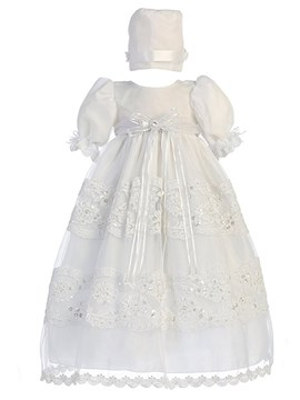 Ericdress Jewel Ball Gown Short Sleeves Appliques Baby Christening Dress
