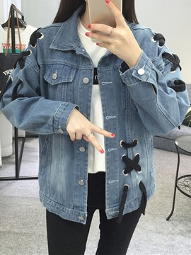 Ericdress Loose Lapel Lace-Up Denim Jacket
