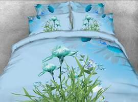 Vivilinen Irises and Green Leaves Printed 4-Piece Blue 3D Bedding Sets/Duvet Covers