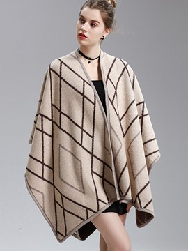 Ericdress Stripe Loose Mid-Length Wrapped Cape