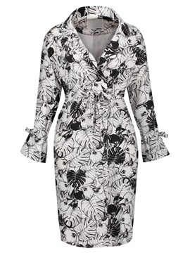 Ericdress Notched Lapel Plant Print Overcoat