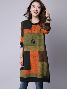 Ericdress Loose Mid-Length Color Block Cool Hoodie