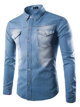 Ericdress Lapel Pocket Long Sleeve Men's Denim Shirt