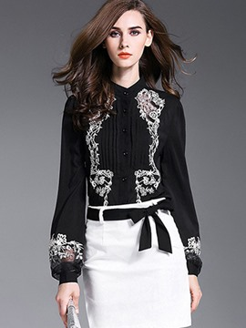 Ericdress Lantern Sleeve Single-Breasted Embroidery Blouse