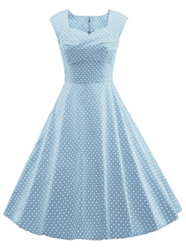 Ericdress Square Neck Polka Dots Expansion A Line Dress