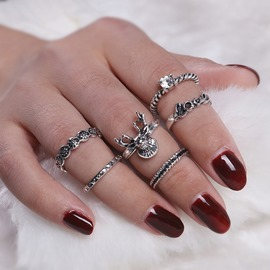 Ericdress Vintage Diamante LOVE Antler Six-Piece Ring Set