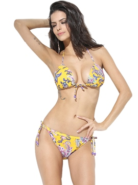 Ericdress Lace-Up Ethnic Print Bikini Set
