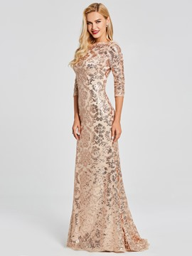 Ericdress 3/4 Sleeve Scoop Neck Sequin Mermaid Evening Dress