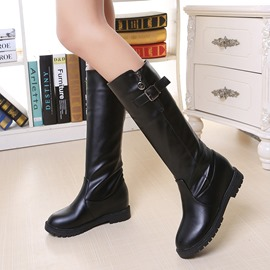 Ericdress New Arrival Plain Knee High Martin Boots with Buckle