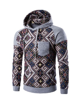 Ericdress Hooded Pocket Patchwork Print Slim Men's Hoodie