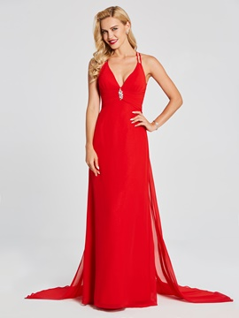 Ericdress Sexy Halter Spaghetti Straps Chiffon Long Evening Dress With Sweep Train