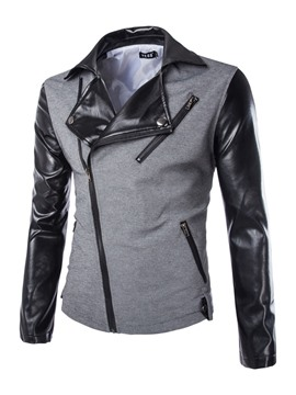 Ericdress Patchwork Lapel Oblique Zipper Men's Jacket