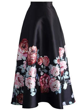 Ericdress Floral Print Patchwork Women's Skirt