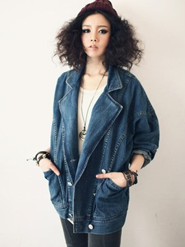 Ericdress Loose Lapel Pocket Button Denim Jacket